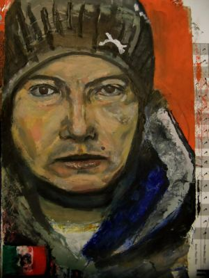 guy, puma beanie and abstract mexican flag (oil) by mrhectormex