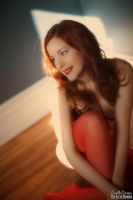Sunlight, Redhead and Red Stockings by CamilleCrimson