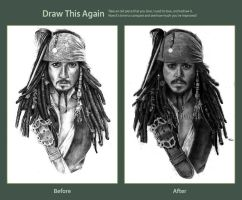 Draw this again challenge: Jack Sparrow WiP by Shamaanita
