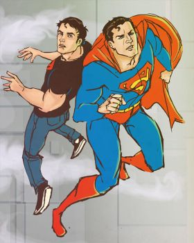 Superman and Superboy by lorainesammy
