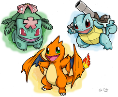 Mega Bulbasaur,, Mega Charmander and Mega Squirtle by DragoonForce2