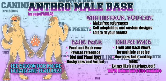 Anthro Male Base Pack (DISCOUNTED!) by King-Hime