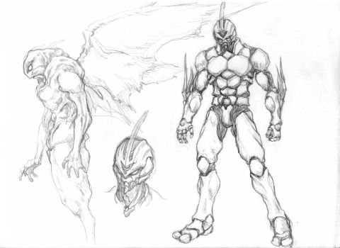 Guyver tryout sketch by Rawbot