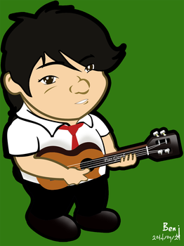 caricature of my friend Pao with a ukulele by ojneb12