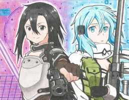 Sinon and Kirito by Allissei