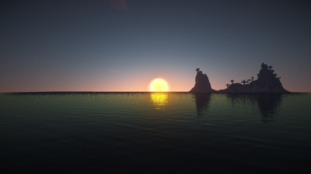 Minecraft sunset over water by Zachkaioken