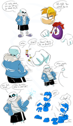 Rayman and Sans Sparring Match by EarthGwee