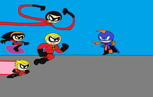 The Incredibles VS. Johnny X by TRC-Tooniversity