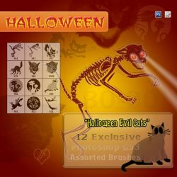 12 Evil Cats - Halloween Stuff by flashtuchka