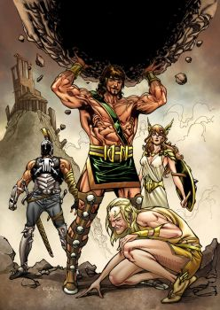 Herc, Hermes, Athena and Ares by SpiderGuile