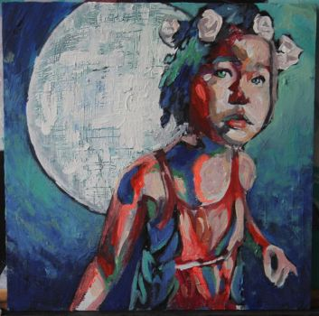 Girl with moon by mihepu