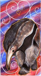 Giant Anteater Watercolour by BumbleBeeFairy