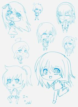 Sketches of Chibis by ninnymuffin
