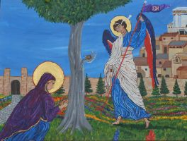 Revelation: St. Anna and the Archangel Gabriel by CodyVBurkett
