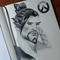 New drawing!! Hanzo from Overwatch   by ThomasArt98