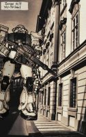 Zaku II in Europe 0079 by JDAtrocityExhibition