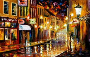 Lights Of The Old Town by Leonid Afremov by Leonidafremov