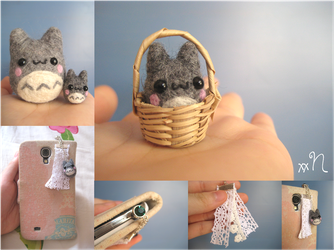 Miniature Felted Totoro Phone Charm by xxNostalgic