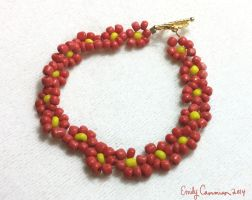 Red Daisy Bracelet by EmilyCammisa