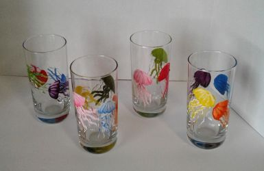 Hand Painted Jelly Fish Glasses Second Set by sweetpie2