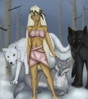 Alae and her 3 wolves by arania