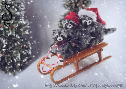 Hand made Miniature Raccoons on a sled snowy day by Teensyweensybaby