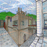 View from a Colonnade (redone with 3D grid) by mrcentipede