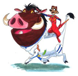 Timon and Pumbaa in PlugSuits by KezART