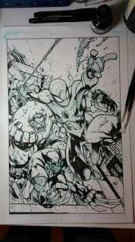 Joe Madureira - The Avenging Spider-Man Inks by scupbucket