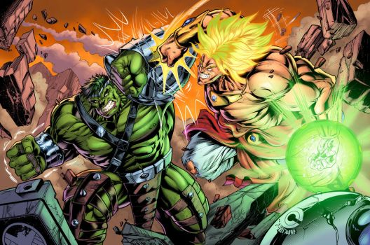 Hulk V Broly Colors4 by CdubbArt