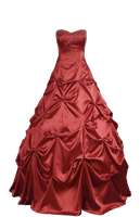 Burgundy Red Ball Gown PNG by Vixen1978
