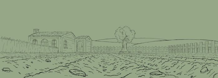 Meager Quest - First Finished Background Line Work by cheyras