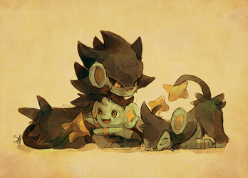 Luxray family by salanchu