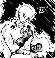 Inktober 2016 Day 15: Serious Saitama by Fragraham