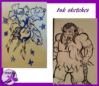 Ink sketches - Trollgre and Sharpsicle Bee by PurpleSallyJay