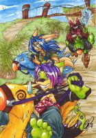 Chocobo, Anthro, Racing- by carnival