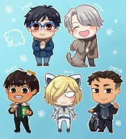Yuri on Ice chibis by Vreemdear