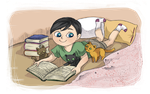 Reading with cats by Lady-Ignea