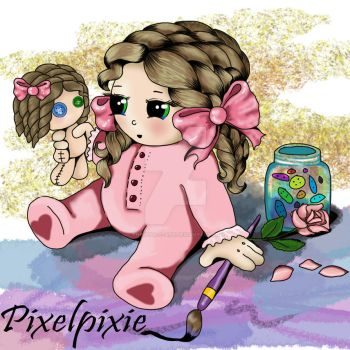 Pixelpixie making a doll by Therena-C-Art