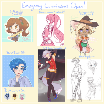 Emergency Commissions - Open by HoneyDroplets