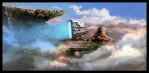 starship and landscape by biotechbob