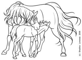 Mare and Foal - lineart by ShadinaLonesea