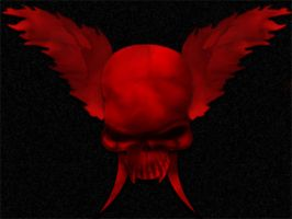 Winged Skull in Red by Lawlesstwo