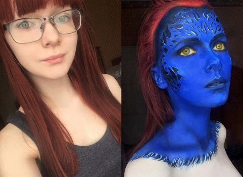 Without makeup vs. Mystique faceart by IraNyaaasha