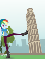 Rainbow Dash and the Pisa Tower! by EninejCompany