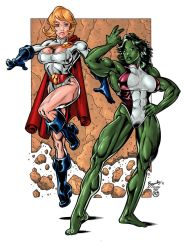 She-Hulk and Power Girl by Bambs79