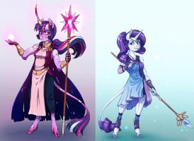 Goddess!AU: Twilight Sparkle and Rarity by Earthsong9405