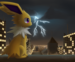 A Jolteon in a city of lights by Bokue