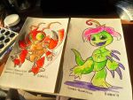 Tentomon and Palmon Watercolors by Silver-Ray