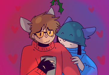 XMAS YCH COM - redd and bluee by QueenStorm